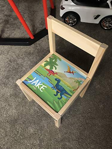 MakeThisMine Personalised Children's Chair Ikea LATT Wooden Dinosaur Dino1 T-rex Egg Printed Name Engraved Kids Indoor Outdoor Nusery Play Room Furniture Girls Friends Boys Family