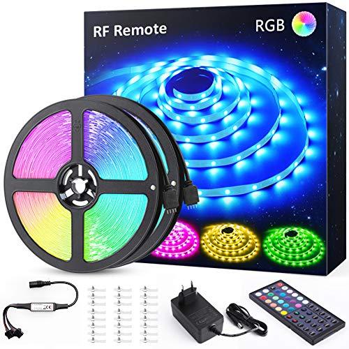 Ruban LED RGB 12M (6Mx2), Novostella LED Ruban Multicolore avec RF Télécommande, 20 Couleurs et 6 Modes, 360 LEDs 5050 Bande Lumineuse Décoratives pour Maison, Cuisine, Fête [Classe énergétique A+]