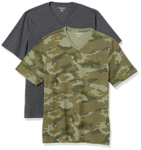 Amazon Essentials 2-Pack Loose-Fit V-Neck T-Shirt Fashion-t-Shirts, Green Camo/Charcoal Heather, L, Pack de 2