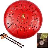 aila tamburo in acciaio, tono c 11 note 12 pollici tamburo a mano, steel tongue drum, strumento a percussione tankdrum con bacchette&borsa per bambini o adulti(rosso)
