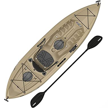 Lifetime Muskie Angler Sit-On-Top Kayak with Paddle, Tan, 120