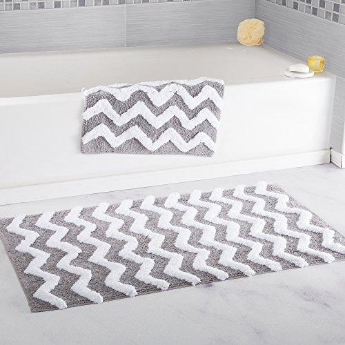 Lavish Home 100% Cotton 2 Piece Chevron Bathroom Mat Set - Silver