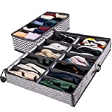 Under Bed Shoe Organizer - With Sock Organizer, Under Bed Shoe Storage Containers With Lids And Adjustable Dividers, Sturdy And Easy To Assemble Shoe Storage Under Bed (Grey)