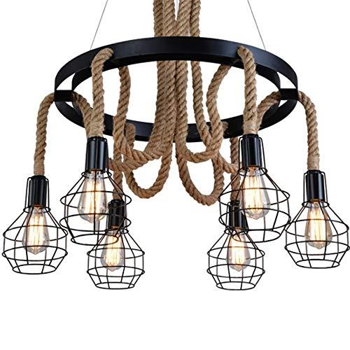 FAGavin Nordic Country Iron Craft Hemp Cuerda Retro Restaurante Bar Creative Bar Cafe 40W / LED 4W 6 Faros Chandelier