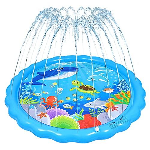 NUOBESTY Almohadilla de Aspersión de Agua Aspersor Y Alfombrilla de Juego Juguetes Inflables de Verano Al Aire Libre para Aspersores Juguete de Piscina con Dibujos Animados de Animales