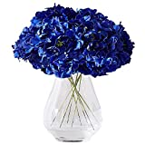 Kislohum Hydrangea Silk Flower Heads 10 Royal Blue Artificial Hydrangea Silk Flowers Head for Wedding Centerpieces Bouquets DIY Floral Decor Home Decoration with Long Stems