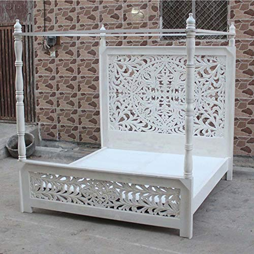Indian Hand Carved Wooden High Headboard Canopy Bed Frame (King)