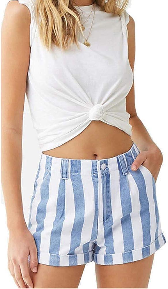 CTAU Women's Jeans Fashion Striped High-Rise Denim Shorts