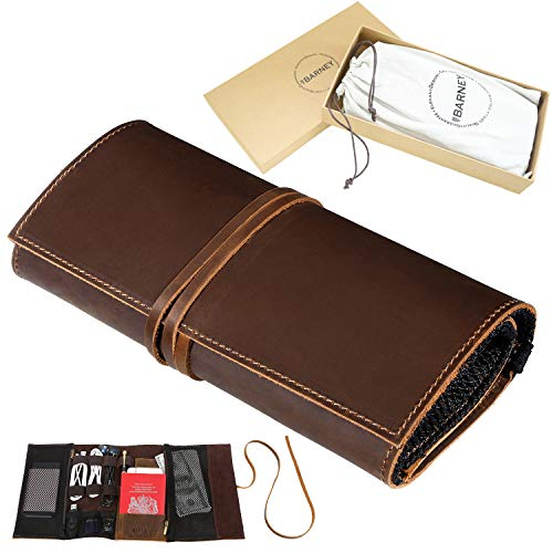 Genuine Leather Electronics Cable Organizer Roll Up Case Cord Bag Travel Pouch for USB Cable, SD Card, Charger, Earphone, Passport, Cash, Coins, Phone, Flash Drive by BY BARNEY