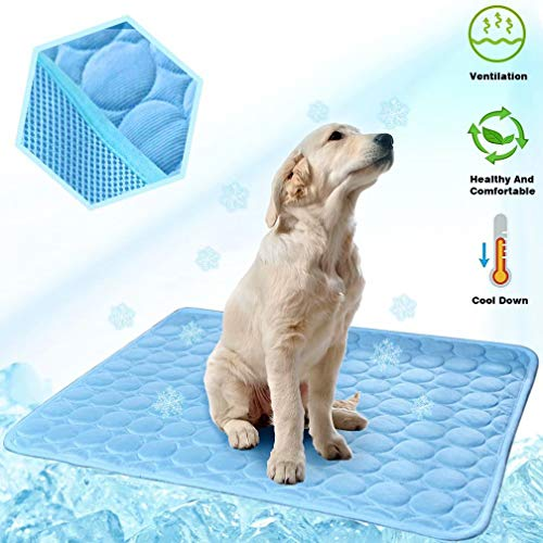 MeiLiMiYu Washable Dog Cooling Mat Ice Silk Pet Self Cooling Pad Blanket