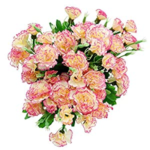 Beferr Artificial Carnation Bouquets Silk Petals Fake Flowers 6pcs Forever Plants for Home Party Wedding Office Table Garden Art Decoration (Purple Edge)