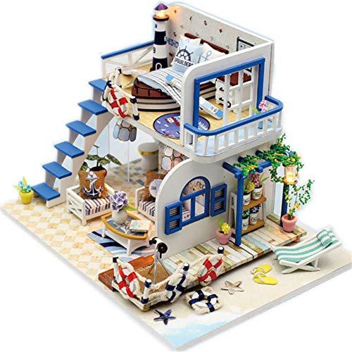 Hearthrousy DIY Puppenhaus Miniatur Haus Selber Bauen Zum Basteln Zubehör Holz Lernspielzeug Spielzeug Kinder 3D Schöne Hellblaue Küste Der Küste Ohne Staubschutzhülle