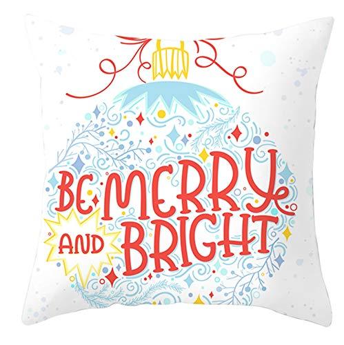 Homxi Fundas para Cojines 40x40x8,Funda Cojin de Poliester Bola de Decoración de Navidad Be Merry and Bright,Funda de Cojines para Sofá de Navidad Blanco Rojo Azul Claro