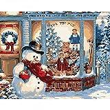 Pintar por Números Kits,Pintar por Numeros para Adultos Niños Muñeco de nieve frente a la puerta. DIY Conjunto Completo de Pinturas para el Hogar Decoraciones-Without_Frame_50x65cm E2384
