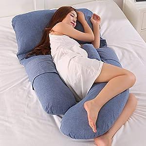 AEIL - Almohada en forma de G para embarazada, para dormir lateral, desmontable, multifuncional, apoyo de cintura, silencioso y cómodo, ergonómico, almohada larga de maternidad