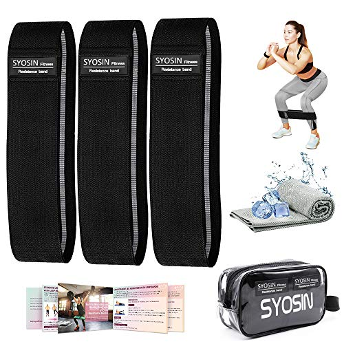 SYOSIN Resistance Bands, Non-Slip Exercise Bands for Legs and Butt, Durable Strong Fitness Workout Fabric Bands with Cooling Towel & Carry Bag & Exercise Guidelines (Black-3 Level)