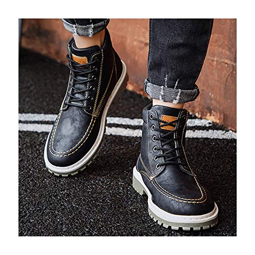 WANGLX Botas de Nieve Cálidas de Cuero Antideslizante para Hombre Zapatos Resistentes Al Agua Bota de Trekking para Entrenamiento y Senderismo,Black-44