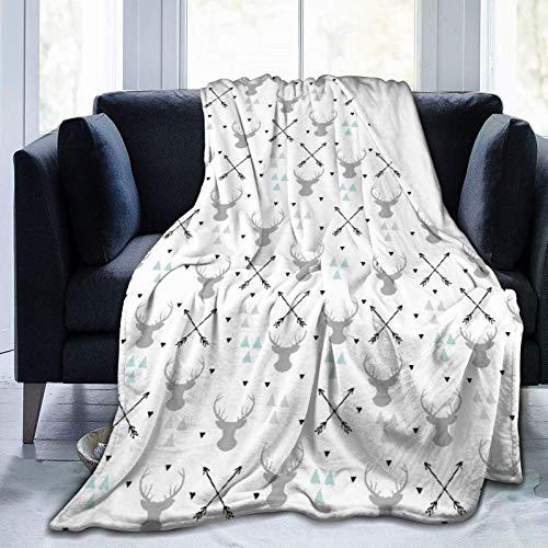 Manta personalizada, diseño de flecha, triángulo de ciervo con elementos de diseño escandinavo de alta calidad, suave y cómoda manta de felpa para sofá, dormitorio, manta de viaje de 40 x 50 pulgadas