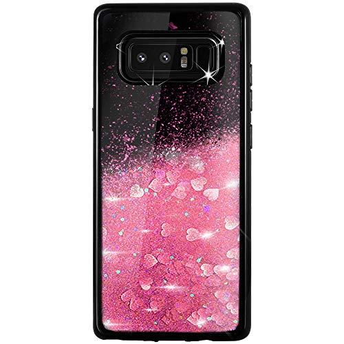 Caler Compatible pour Coque Samsung Galaxy Note 8 Mode 3D Paillettes Liquide Flottant Liquide Bling Étui Protecteur Silicone Bumper Brillant Sparkly Cristal Brillante Sables Mouvant étui(Or Rose)