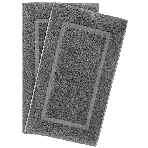 900 GSM Machine Washable 20x34 Inches 2-Pack Banded Bath Mats, Luxury Hotel & Spa Quality, Ringspun Cotton, Maximum Softness & Absorbency by United Home Textile, Charcoal Grey