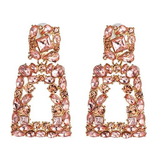 Ruby569y Pendientes colgantes para mujeres y niñas, diamantes de imitación ahuecados geométricos, pendientes de tuerca, joyería regalo - rosa