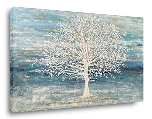 Yihui Arts Canvas Art Wall Decor, White Birch Trees Landscape Picture Painting, Modern Nature Teal Artwork Prints, Large Size Framed for Christmas Home Decor