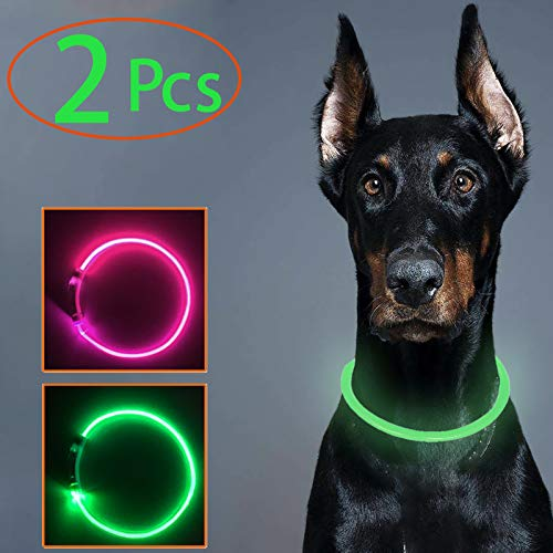 2 Pcs LED Dog Collar, USB Rechargeable, Glowing in The Dark Flashing Pet Collar, Water Resistant Cuttable TPU Light Up Collars for Small Medium Large Dogs