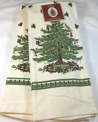 Set of 2 Spode Christmas Tree Kitchen Towels by Avanti Linens-100% Cotton-Ivory