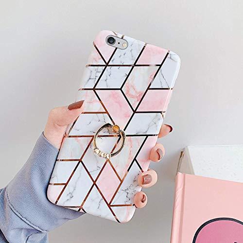 Saceebe Compatible avec iPhone 6S 4.7 Coque Silicone Motif Géométrique Marbre Housse Etui avec Anneau Support Bague Glitter Paillette Brillant Strass Ultra Fine Fille Case,Rose Blanc
