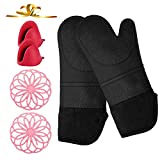 VWMYQ Extra Long Silicone Oven Mitts and Pot Holders Sets, Cooking Mittens Professional Heat Resistant with 2 Mini Pinch Mitts for Kitchen Cooking Baking ,Pack of 6 (Black)
