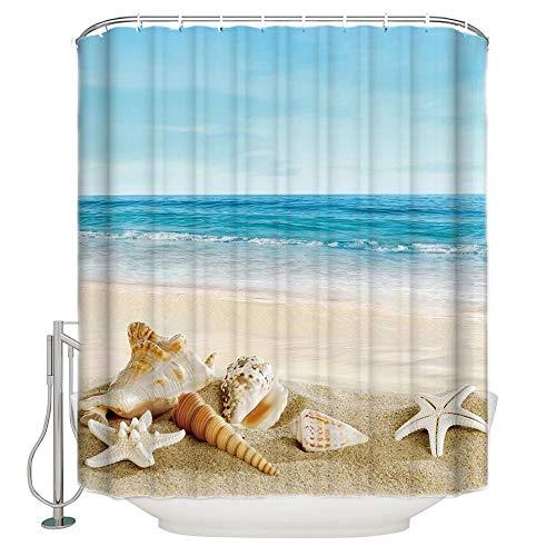 SYLZBHD Strand Seestern Muschel Sommer Meer Duschvorhang wasserdichte Badezimmer Gardinen Polyester Stoff Duschvorhänge für Badezimmer Dekor W90xH180cm