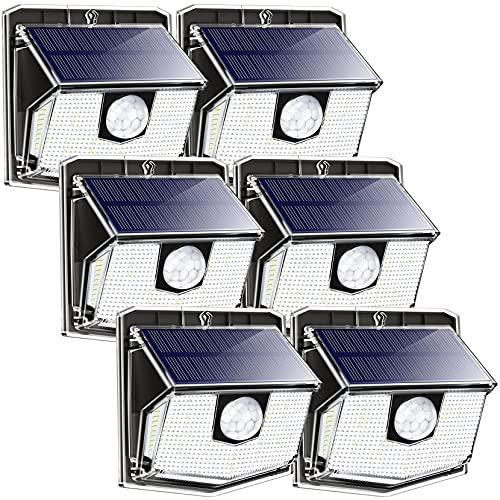 LITOM Luce LED 【6 Pezzi】, Luci Sensore di Movimento, IP67 Impermeabile, Lampada Solare da Esterno per Giardino, Black