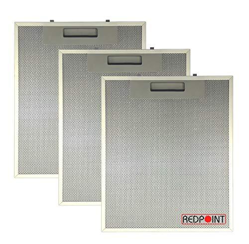REDPOINT® KIT 3 FILTRI ALLUMINIO per CAPPE mm. 253 x 300 x 8 - Adattabile : FABER 1330018480 / 133.0018.480