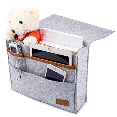 Bettablage zum Einhängen, Betttaschen Hängeaufbewahrung Anti-Rutsch Nachttisch-Caddy Tasche Betttasche Bett Sofa Organizer Bett Hängeaufbewahrung für Buch, Zeitschriften, iPad, Handy, Fernbedienung