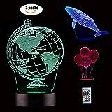 SiFar 3D LED Illusion Light, 3 modelli 7 colori Remote Controlled Dimensional Basketball Light, luci notturne ottici, lampada da tavolo Atmosfera Decorazione, regali di compleanno per bambini (3D LED)