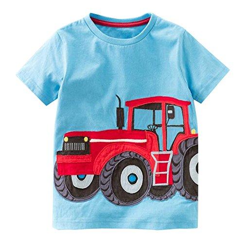 IZHH Toddler Kids Baby Boys Cute Print Clothes Short Sleeve Tops T-Shirt Blouse(Blue,3T)