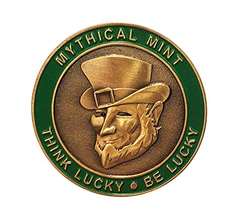 Mythical Mint Leprechaun Coin. Fun, Playful Leprechaun Challenge Coin. Shamrock and Irish Symbols.