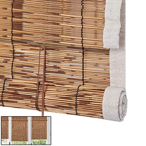 NIANXINN Retro Decorative Reed Roller Curtain-Bamboo Roll up Blinds-Window Shades,Waterproof Sun Shade Curtain,for Outdoor/Indoor,Customizable(50x60cm/20x24in)