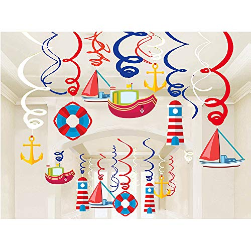 30Ct Navigation Hanging Swirl Decorations Cruise Ship Sailboat Lighthouse Lifebuoy Anchor Hanging Swirl Decorations - Navigation Birthday Party Supplies Fan Decors