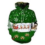 SALEBLOUSE Herren Weihnachtspullover Oversize Weihnachten Grün Weiss Weiß Kleidung Pulli Große...