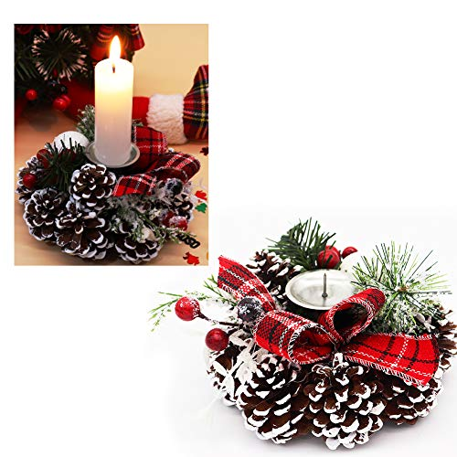Bibivisa Portacandele Natalizi, in Legno di Pino Smerigliato, con portacandele Decorativo e Fiocco di Iuta con Bacche Rosse, Ideale per Natale, Sala da Pranzo, Decorazione per la casa