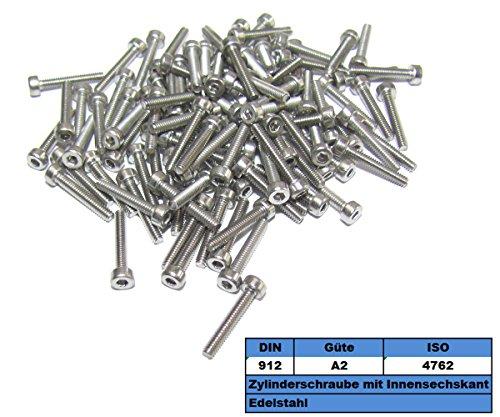 Lot de 100 M2 x 10 mm 2 x 10 Vis de cylindre nsech kank Vis A2 DIN 912 M2 x 10