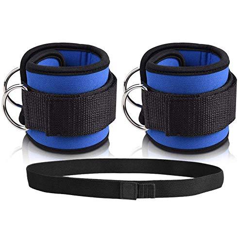 Doact Fußschlaufen Knöchelriemen Fitness Ankle Straps für Kabelmaschine mit Haken und Schlaufe Widerstandsband, Doppel-D-Ring Designed, Verstellbare Fußmanschetten für Hüfte