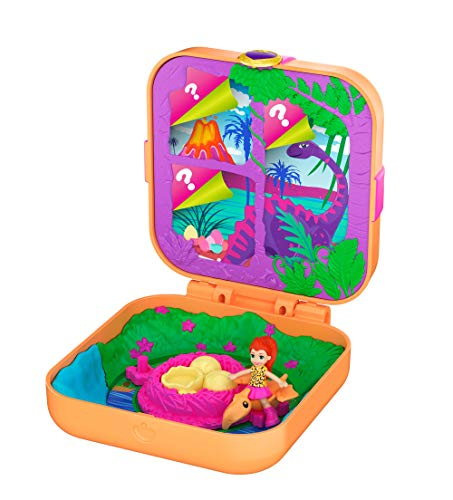Polly Pocket Hidden Hideouts Lila Dino Discovery Compact Hidden Hideouts and Reveals, 3 Accessories, 1 Micro Lila Doll and Sticker Sheet