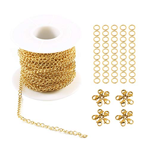 Tiparts 33FT 18K Gold Plated Cable Chains Stainless Steel Extender Chains Link Necklace Bulk for Jewelry Making with with 20 Lobster Clasps and 50 Jump Rings (Gold, 3.0mm)