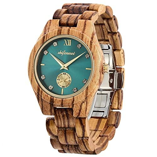 Wooden Watch Women, shifenmei Womens Wood Watches Lightweight Handmade Analog Quartz Wooden Strap Wrist Watches with Wood Box (A-Zebra)