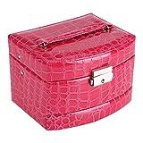 Yosoo Boîte à Bijoux Coffret Pésentoirs en Cuir 3 Plateaux Tiroirs Intérieur Velouté 5 Couleurs Verrouillable à Clé MiroirAccessoires(Rose Red)