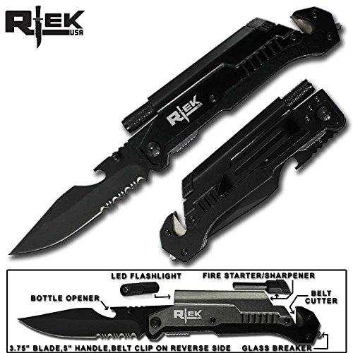 9' Tactical Spring Assisted Red Survival 7 in 1 Rescue Pocket Knife LED Light Fire Starter Blade Sharpener Bottle Opener Glass Breaker Belt Cutter (Black)