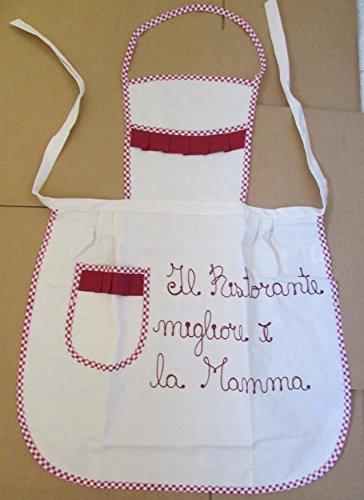Trama Toscana Grembiule Donna Cuoca cm 60x90 in Cotone 100% con Dedica per la Vostra Mamma