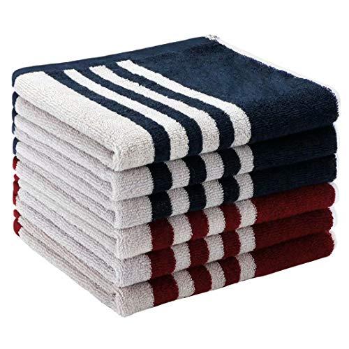 Juego de Toallas de Cocina de Felpa 34 x 34 cm Rojo Azul algodón Absorbente Suave paño de Cocina Toallas de té Toallas de Barra Paquete de 6